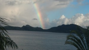 View of St. Kitts from Nevis with rainbow bonus.